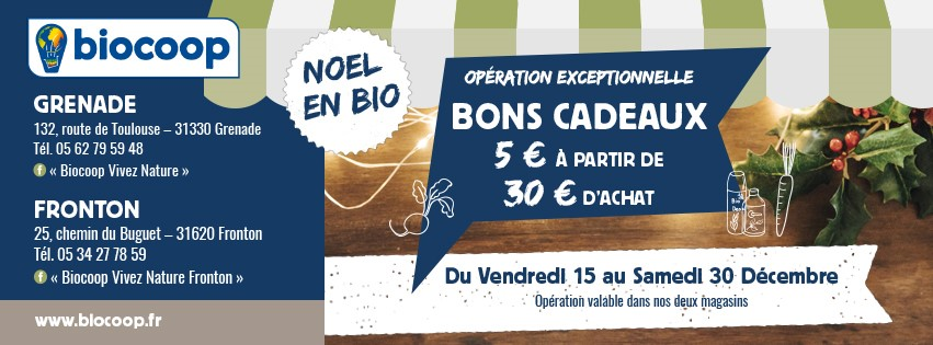 Pub Biocoop Carte De Visite Inauguration Fronton Banniere Fin Dannee